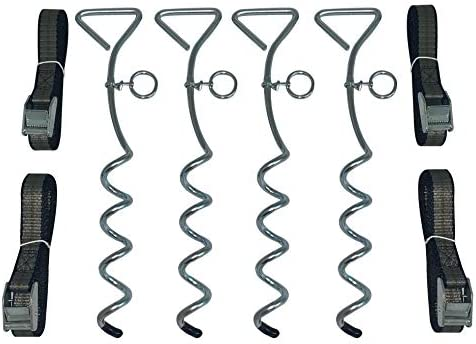 Trampoline Anchor Kit - Heavy Duty Tie Down System - Set of 4 - Tie Downs with Ground Stakes