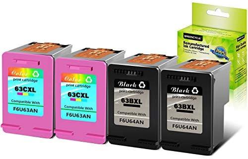 GREENCYCLE Re-Manufactured 63XL 63BXL 63CXL Ink Cartridge Compatible for HP Envy 4520 4510 OfficeJet 4650 3830 5255 5258 DeskJet 1110 2130 3636 Black 2 Pack, Tir-Color 1 Pack with New Version chip