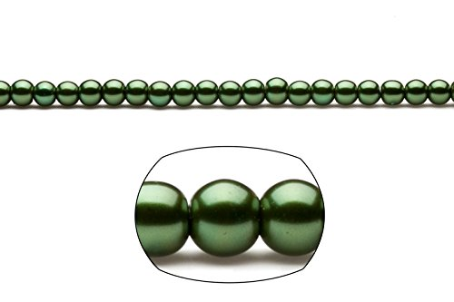 6mm round metallic-tone dark forest green glass pearls 2x32inch stings ()