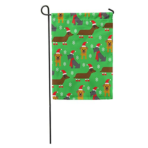 (Semtomn Garden Flag Scottie Christmas Dog Pattern on Green Animals Booties Bulldog Cute Home Yard House Decor Barnner Outdoor Stand 12x18 Inches Flag)