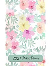 2021 Pocket Planner: Small Pocket Planner for Women - Monthly and Weekly Pocket Calendar - Purse & Pocket Size - Tropical Flower Pastel Floral Design - 4 x 6.5 inches