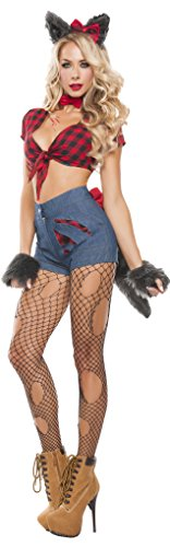 Starline Women's Sexy Hungry Werewolf 6 Piece Costume Set, Red/Blue, X-Large (Sexy Werewolf Costume)