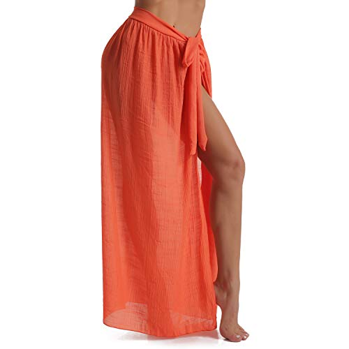 Eicolorte Beach Sarong Pareo Womens Linen Cotton Swimwear Cover Ups Short Skirt with Tassels (56-Orange(us 4-12)) ()