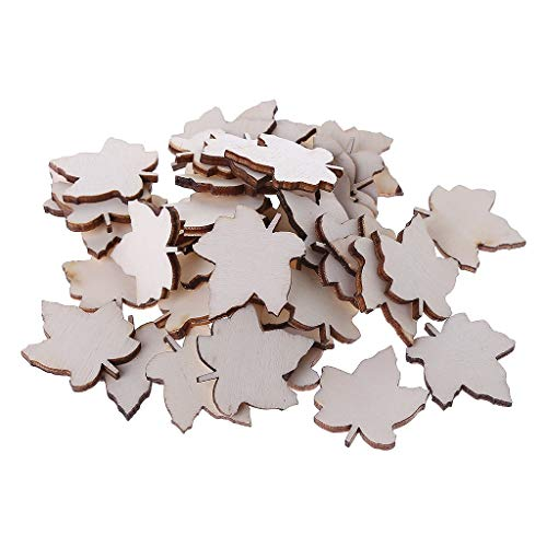 Simdoc 50pcs Wooden Maple Leaf Embellishment,DIY Maple Leaf Shaped Wooden Pieces for Craft Home Wedding Decor