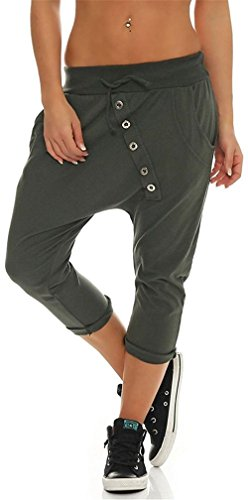 Moda Pantalones Elegantes Cintura Anchos Un Verde Media Solo Largos Tiempo Verano Elastische Sólido Color Delanteros Libre De Mujer Tiras 8 Regalos Taille Pecho Harem Bolsillos 7 5wEaqzx