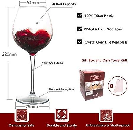 MICHLEY Irrompible Copas de Vino Tinto, 100% Tritan-plástico Copas Vino Cristal,475 ML BPA y EA Gratis Vaso de Vino