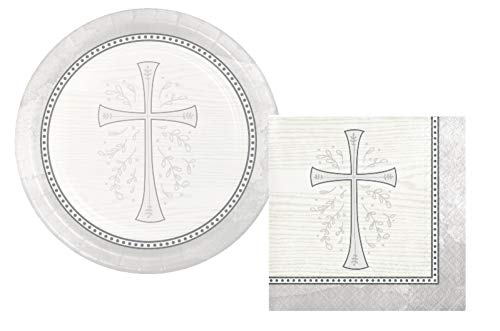 Inspirational Religious Party Supplies: Bundle Includes Dessert Plates and Napkins for 16 People in a Divinity Cross Design (Silver)