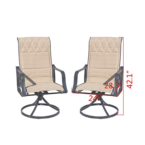 Top Space 2 Piece Patio Chairs Set 360 Degree Swivel Bar Stools Outdoor Furniture Sets with All Weather Metal Frame 2 Bar Chairs,Wood Color