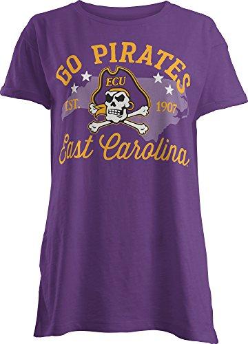 irates Abingdon Short Sleeve T-Shirt, Small, Purple (East Carolina Logo Square)