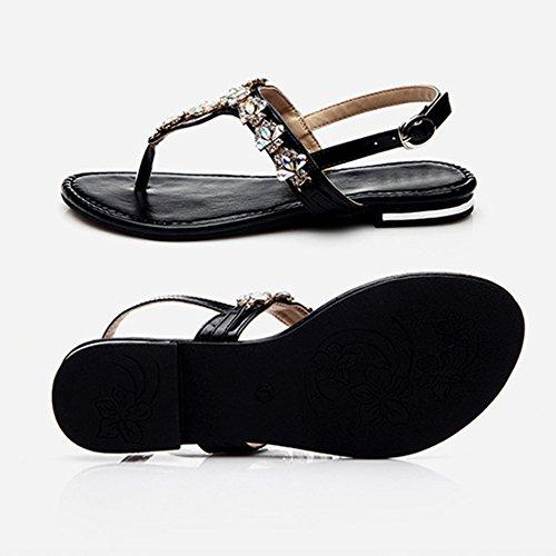 Planos Beach Wear Del Black De Strap Del Muchachas Planas Bohemia Sandalias Talón Shoes Daily Las Zapatos Del Del Poste T Plano Rhinestone Elástico Sandalias 7Oawg