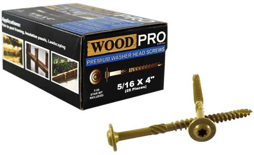 WoodPro Fasteners ST516X4-25PC 5//16-Inch by 4-Inch Length Round Washer Head Exterior Wood Screws 25-Pack
