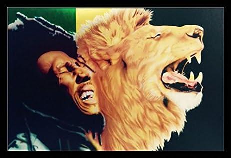 Amazon.com: When The Lion Roars... ( Bob Marley ) - 24x36 Black ...