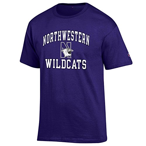 Champion NCAA Men's Shirt Short Sleeve Officially Licensed Team Color Tee, Northwestern Wildcats, Small