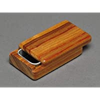 Small Wood and Steel Pill Box, Canarywood, Optional Monogram