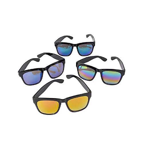 Black Sunglasses With Rainbow Mirror Lens by Bargain World