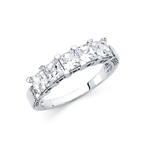 Size 7 - 3mm Solid 14K White Gold Princess Cut Classic Traditional Wedding Band Ring (2.0 cttw.) by Universal Jewels