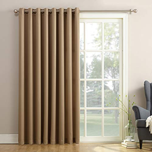 Sun Zero Barrow Extra-Wide Energy Efficient Sliding Patio Door Curtain Panel with Pull Wand, 100' x 84', Taupe