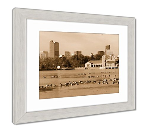 - Ashley Framed Prints City Park Lake Denver Colorado Skyline Migrating Geese Birds Wil, Contemporary Decoration, Sepia, 26x30 (frame size), Silver Frame, AG6386284