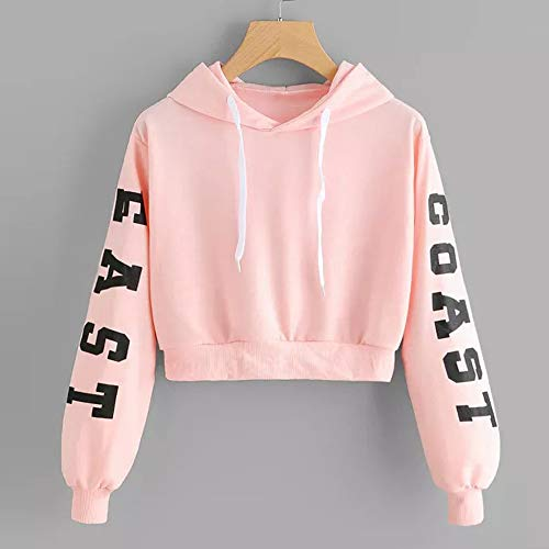 Femme Chemisiers Hoodie Rose Manches AIMEE7 Blouse Capuche Sweat Tops Longues Lettres Twngq0d