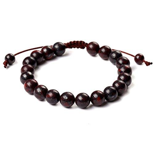 iSTONE Knitting Adjustable Mens Womens Natural Gemstone 8mm Bloodstone Round Beads Healing Power Bracelet
