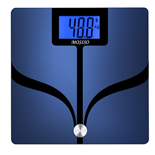 Mosiso Bluetooth Smart Connected with Smartphone App Scale, Body Fat Monitor with Large Backlit LCD, Body Analyzer Measures 8 Parameters: Body Weight, BMI & More