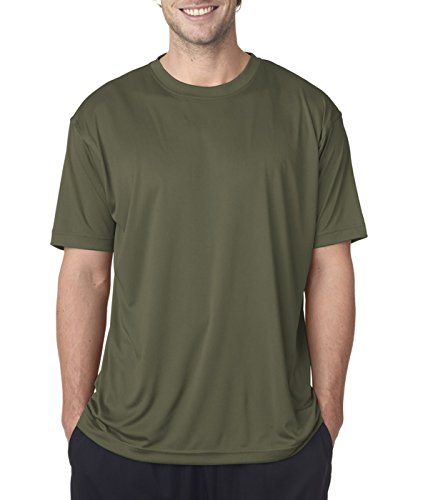 T-shirt Military Moisture Wicking - Moisture-wicking men's cool and dry sport performance tee. (Military Green) (2X-Large)