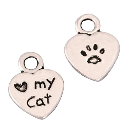20 I Love My Cat Charms 8mm Antique Silver Tone for Bracelets Necklaces Earrings #mcz1140