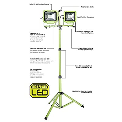 PowerSmith PWL2172TS 7500 Lumen 2 Head LED Work Light with Adjustable Releasable Metal Tripod Stand,