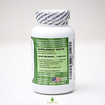 Securus - All Natural Anxiety and Panic Relief Supplement, Kava Kava, GABA,  and Passion Flower