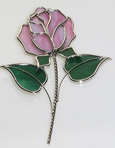 (Red Rose Stained Glass Suncatcher)