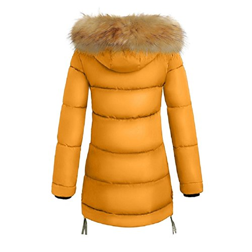 Down ESAILQ Fit Winter Women Coats Outwear Slim Hooded Yellow Padded Warm Jacket Parka pqqnRABwx