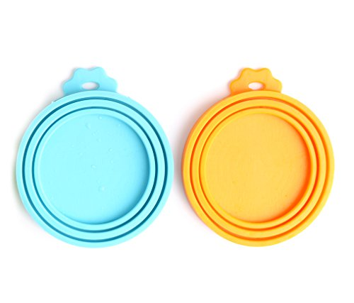 Best Prices! Comtim Pet Food Can Cover/Silicone Can Lids for Dog and Cat Food, Blue/Orange