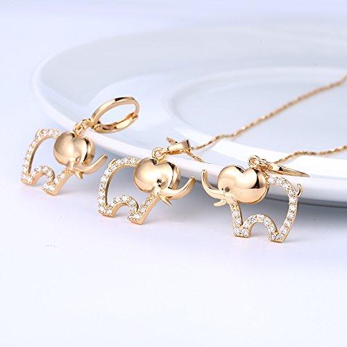XUPING Chapado en oro Animal Pendientes Collar de Joyas Elefante Moda Joyas Conjuntos