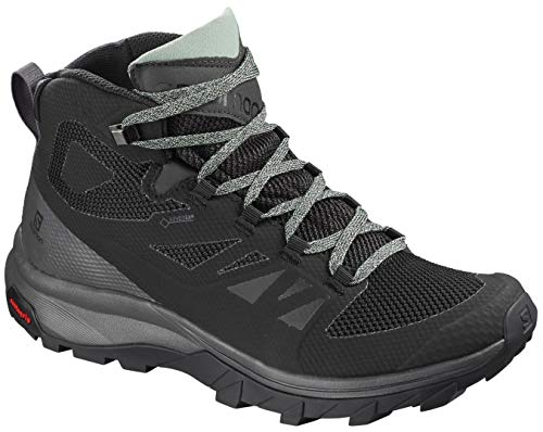 (Salomon Women's Outline Mid GTX W Hiking Shoe, Black/Magnet/Green Milieu )