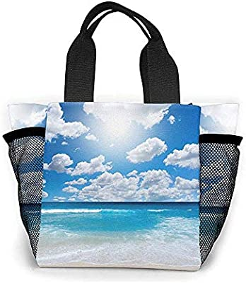 Tote Lunch Bag, Blue Sky and White Cloud Print Big Cooler Bag Container Thermal Cooler Pack Picnic Bag: Amazon.es: Hogar