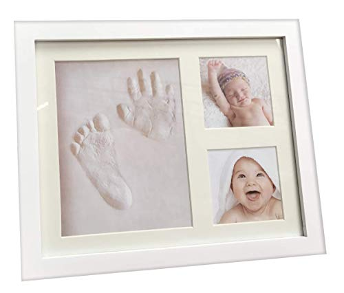 Three Buddiez Baby Handprint Footprint Keepsake, Photo Frame and Clay kit Impression for Newborn Girls and Boys, Top Shower Gifts Hand molding kit, Personalized Family Decorations, Nursery Decor