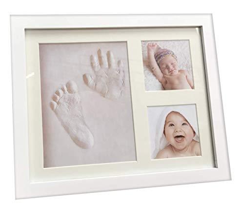 Newborn Impressions Kit - Three Buddiez Baby Handprint Footprint Keepsake, Photo Frame and Clay kit Impression for Newborn Girls and Boys, Top Shower Gifts Hand molding kit, Personalized Family Decorations, Nursery Decor