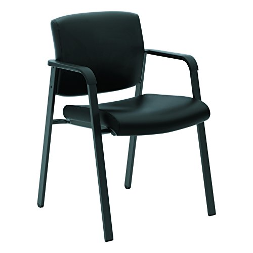 - HON Validate Stacking Guest Chair, Black SofThread Leather (HVL605)