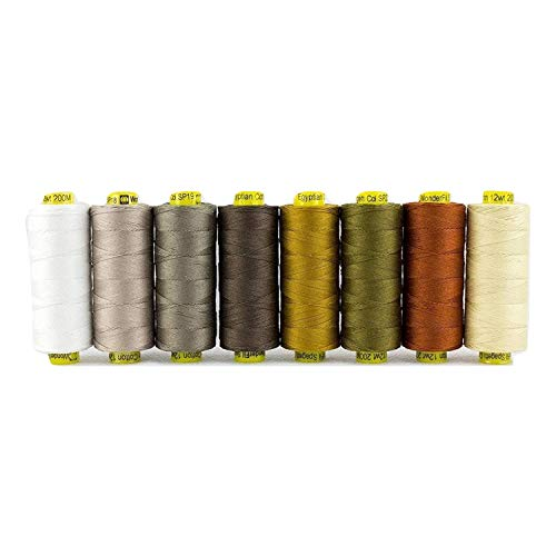 WonderFil Specialty Threads Spagetti, 3-Ply 100% Long Staple Double-Gassed Egyptian Cotton, Neutrals - Set of 8
