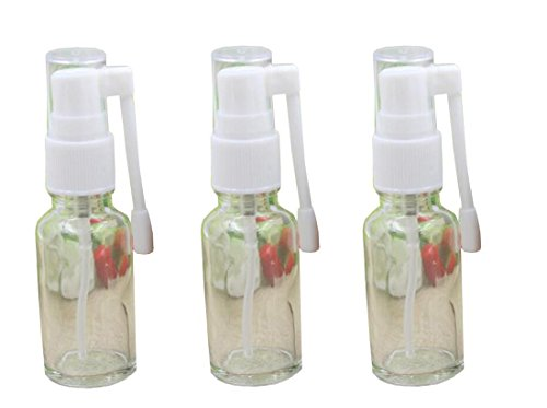 3PCS 20ML 0.68oz Empty Clear Glass Refillable Nasal Spray Bottle With 360 Degree Water Rotation Atomizer Container For Makeup Home Travel ()