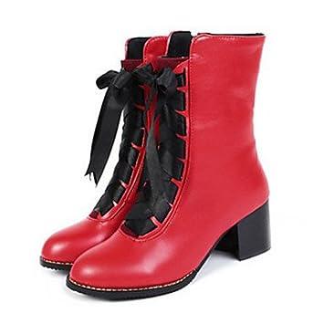 RTRY Zapatos De Mujer Pu Confort Novedad Moda Primavera Verano Botas Botas Talón Plano Ronda Toe Botines/Botines Lace-Up Para Office &Amp; ...