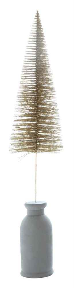 Heart of America Bottle Brush Tree With Cement Base Gold Finish - 3 Pieces