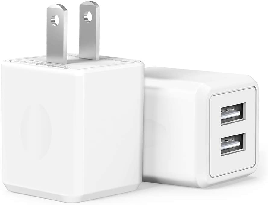 Samsung Huawei Kindle and More LG HTC Moto iPod USB Wall Charger,Charger Adapter Atizzy 2-Pack 2.1Amp Dual Port Fast Charger Plug Cube for iPhone X 8//7//6 Plus SE//5S//4S,iPad