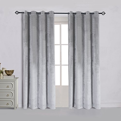 Super Soft Luxury Velvet Set of 2 Smoky Gray|Silver Gray Classic Blackout Curtains Panels Home Theater Grommet Drapes Eyelet 52Wx72L-inch Light Grey(2 panels)