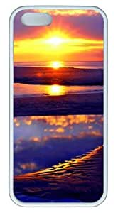 Beach Sun Rise Abstract DIY Rubber White iphone 5/5s Case Perfect By Custom Service