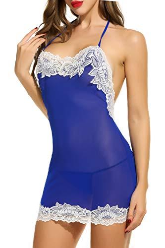 Avidlove Women Sexy Lingerie Halter Backless Lace Trim Babydoll G-String 2 Piece Set Sleepwear Blue Medium
