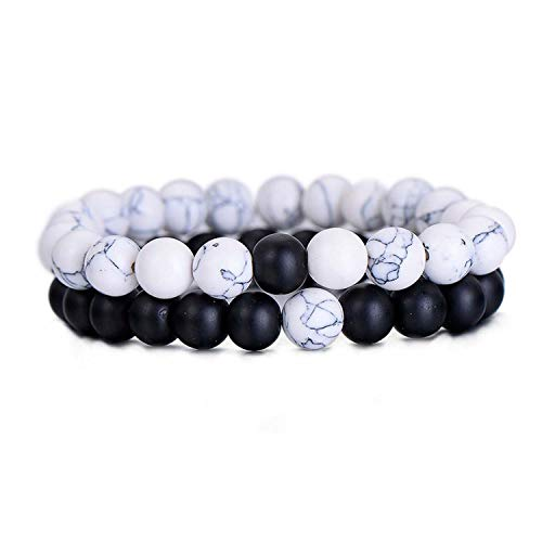 Shallow Time 2Pcs/Set Couples Distance Bracelet Natural Stone White and Black Yin Yang Beaded Bracelets,White Black