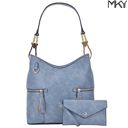 Classic Large Hobo Shoulder Bag Women Tote Purse Ladies Handbag PU Leather Big Snap Hook Denim (Denim Lined Tote)