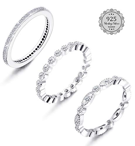 LOYALLOOK Sterling Silver Rings 3Pcs Stackable Wedding Band Cubic Zirconia Engagement Rings Bridal Rings Sets Eternity Ring For Women 8 by LOYALLOOK