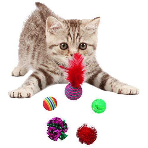 SCIROKKO Christmas Cat Toys Stocking Set for Cats, Includes Jingle Toy,Mice Ball,Catnip Fish,Feather Ball,Mylar Crinkle Ball,Cat Teaser Wand & More Cute Kitty Toys 3